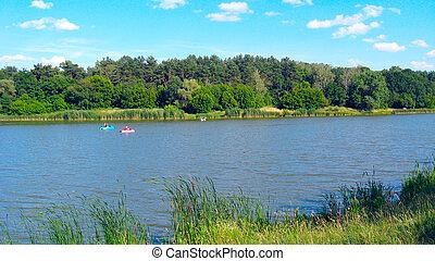 lato, ludzie, katamarany, woda, jeżdżenie, rzeka krajobraz