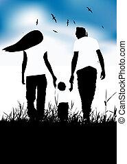 lato, mały, rodzina, chód, pole, niemowlę