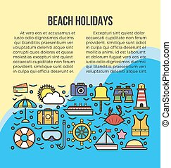 lato, morze, afisz, podróż, ferie, wektor, szablon, rejs, plaża, albo