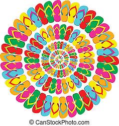 lato, multicolor, mandala, trzepnięcie brzdęknięcia