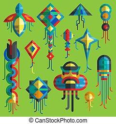 lato, na wolnym powietrzu, kania, wąż, projektować, zabawka, sylwetka, rozrywka, przelotny, niebo, odizolowany, święto, barwny, zbiór, gra, wąż, koźlę, mucha, dzieciaki, illustration., smok, wektor, działalność, dzieciństwo