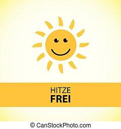 lato, niemiecki tekst, wolny, upał, słońce, uśmiechnięty szczęśliwy