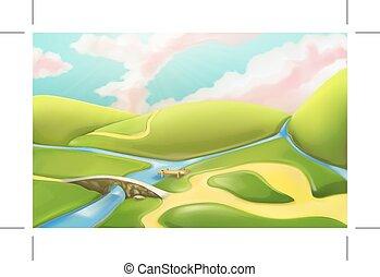 lato, panorama, łąki, krajobraz, podstawowy, drogi, 3d, krajobraz, czuć się, używany, natura, okolica, górki, ilustracja, rzeka, gra, tło, rysunek, sky., pochmurny, wektor, może, most