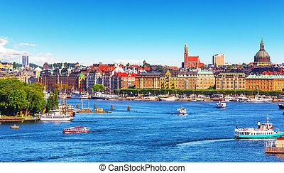 lato, panorama, od, sztokholm, szwecja