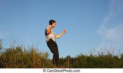 lato, park, młody, polana, tańce, muzyka, cutephone, pod, człowiek
