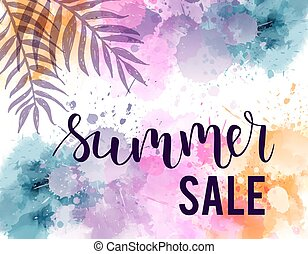lato, pastel, sprzedaż, akwarela, plamy, tło