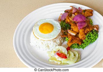 lato, piccante, asiatico, mescolare-fritto, cibo, riso, fish, uovo, soleggiato, dolce, cinese