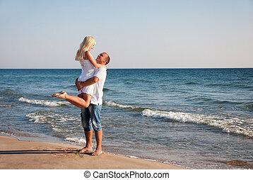 lato, pieszy, para, morze, plaża, kochający