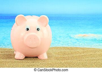 lato, piggy bank, na plaży
