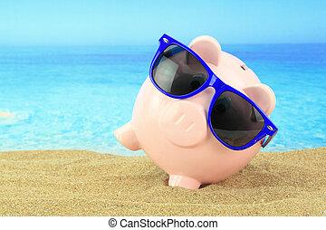 lato, piggy bank, z, sunglasses, na plaży