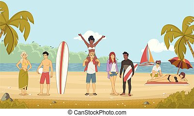 lato, plaża., młody, holidays., przyjaciele, rysunek
