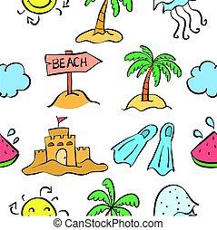 lato, plaża, próbka, doodles