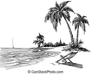 lato, plaża, rysunek, ołówek