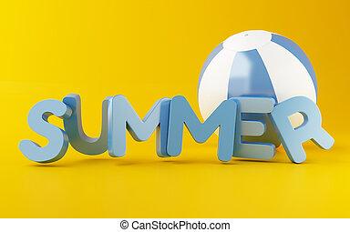 lato, plaża, słowo, ball., 3d
