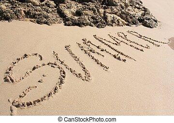 lato, plaża, słowo