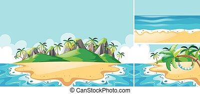 lato, plaża, sceny, ocean