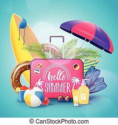 lato, plażowe zwolnienie, tło, afisz