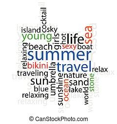 lato, podróż, słowo, ilustracja