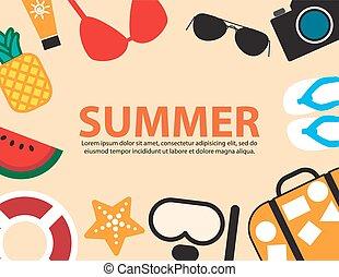 lato, podróż, tło, święto, plaża, bok