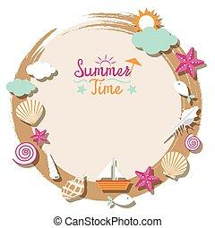 lato, powłoka, morze, obiekty, ikony