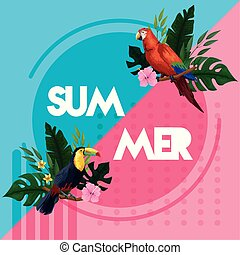 lato, powitanie, karta, afisz