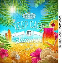 lato, projektować, powitanie, ferie