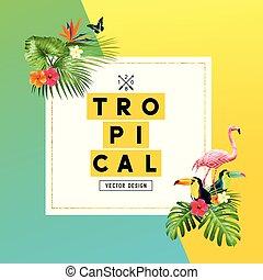 lato, projektować, tropikalny, tło