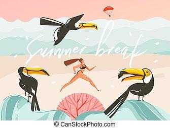 lato, ptaszki, zachód słońca, graficzny, typografia, plaża, szablon, sztuka, krajobraz, wektor, rysunek, ręka, czas, dziewczyna, tukan, ocean, ilustracje, pociągnięty, piękno, abstrakcyjny, tło, złamanie, wyścigi, różowy