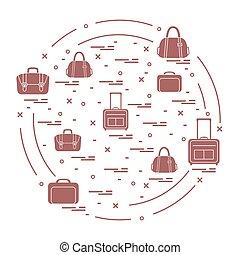 lato, różny, załatwiony, walizki, vacation., podróż, ilustracja, czas, torba, wektor, circle.
