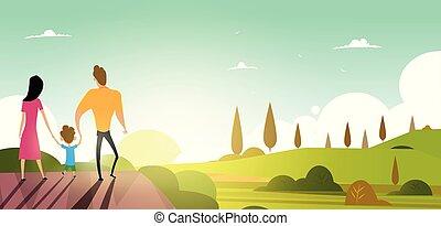 lato, rodzina, wektor, przechadzki, outdoors., sunset., szczęśliwy