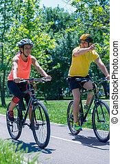 lato, rower, para, młody, jeżdżenie, dzień