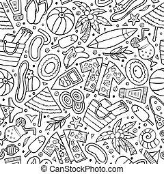 lato, rysunek, czas, seamless, próbka