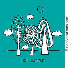 lato, rysunek, krajobraz