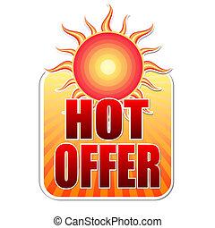 lato, słońce, etykieta, gorący, oferta