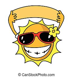 lato, słońce, sunglasses, używając