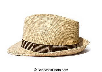 lato, słomiany kapelusz, odizolowany, na białym, tło