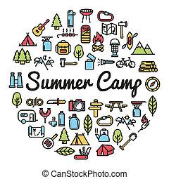 lato, słowo, ikony, obóz, -, ilustracja