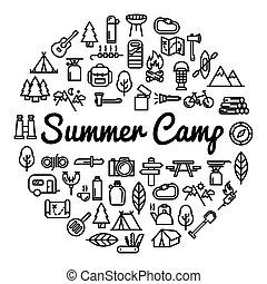 lato, słowo, ikony, obóz, -, ilustracja, wektor