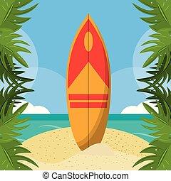 lato, sanki wodne, border., liście, wybrzeże, dłoń plaża