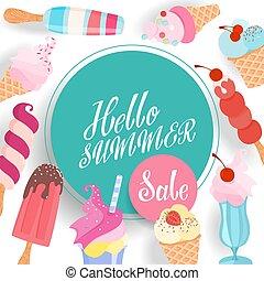 lato, sprzedaż, banner.