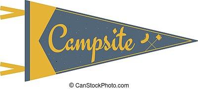 lato, styl, stary, badacz, obozowanie, proporzec, drzewa., campsite, obóz, albo, symbolika, namiot, bandera, przygoda, pennant., rocznik wina, obozowisko, podróż, template., design.