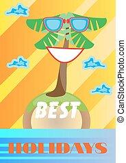 lato, sunglasses, barwny, najlepszy, tekst, drzewo, ferie, tło, dłoń, uśmiechanie się, karta