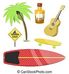 lato, surfing, illustration., gagat, działalność, kitesurfing, surfer, woda, wektor, wakeboarding, czas, czynny, sport, plaża, windsurfing