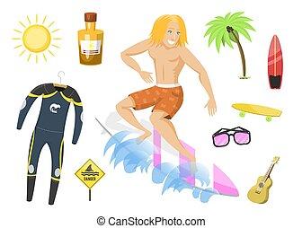 lato, surfing, illustration., gagat, działalność, kitesurfing, surfer, woda, wektor, wakeboarding, czas, czynny, sport, plaża, windsurfing, człowiek