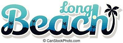 lato, symbol, długi, ferie, znak, plaża