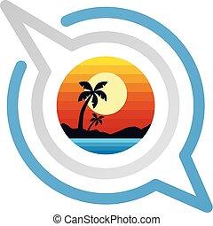 lato, symbol, ferie, pogawędka, znak, plaża
