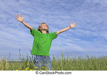 lato, szczęśliwy, outstretched herb, dziecko