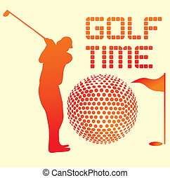 lato, sztuka, lekkoatletyka, gracz, wektor, golf