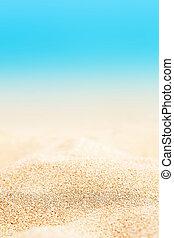 lato, tło, -, słoneczny, plaża, z, piasek złotego