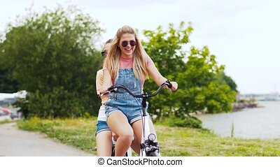 lato, teenage, rower, dziewczyny, jeżdżenie, przyjaciele,...